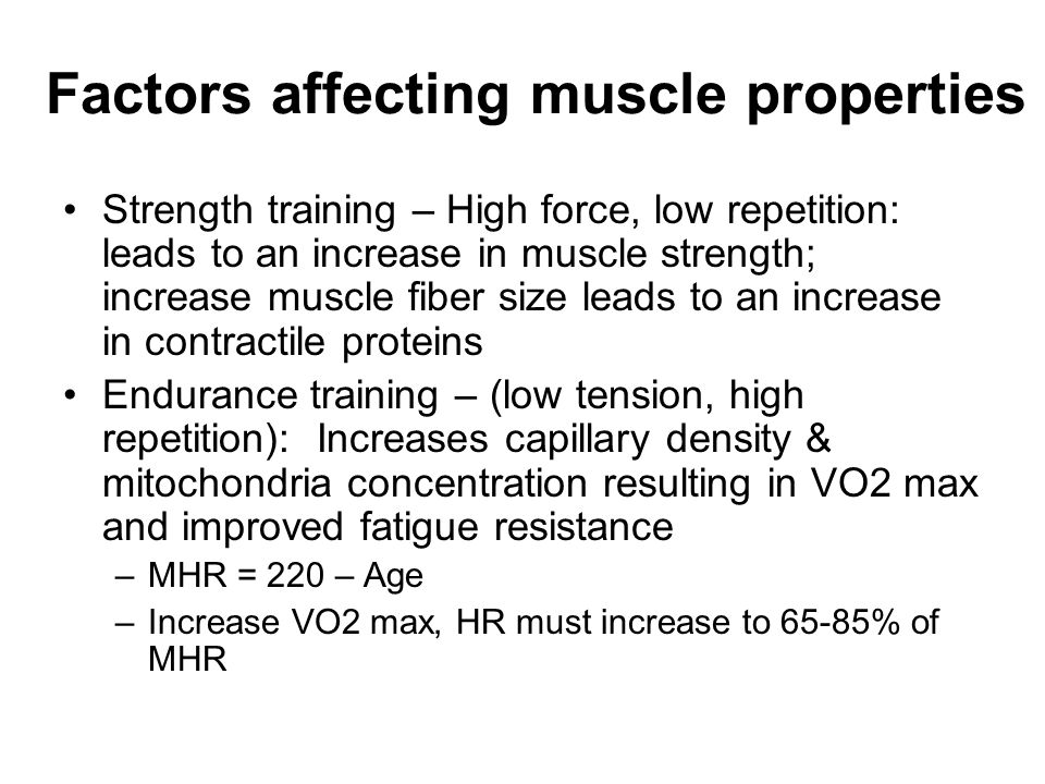 Factors affecting muscle properties