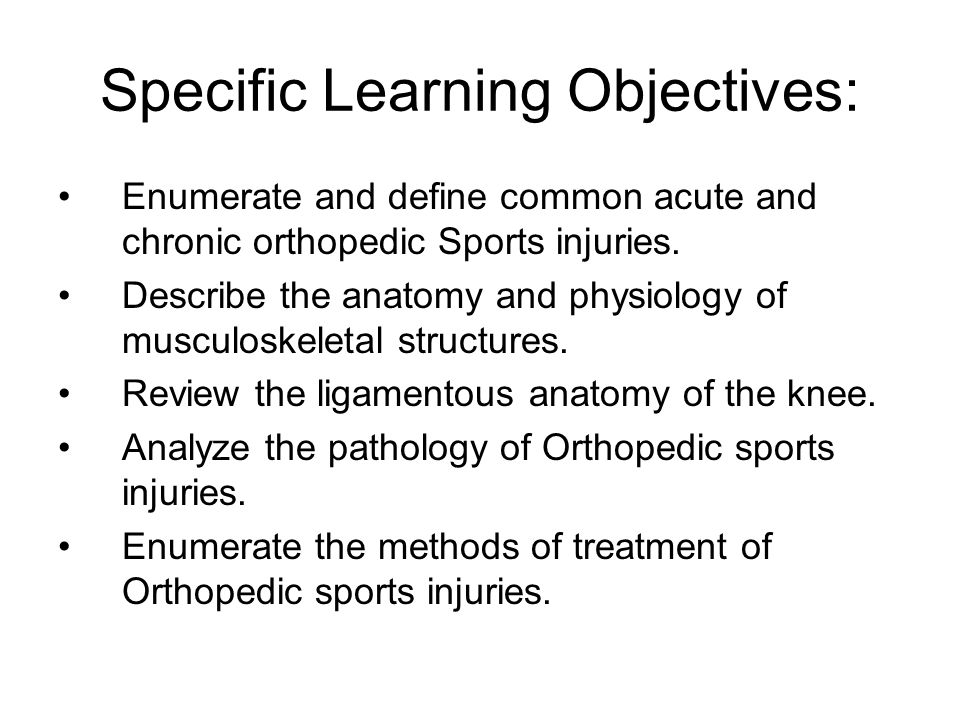 Specific Learning Objectives: