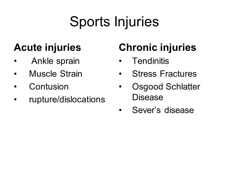 Sports Injuries Acute injuries Chronic injuries Ankle sprain
