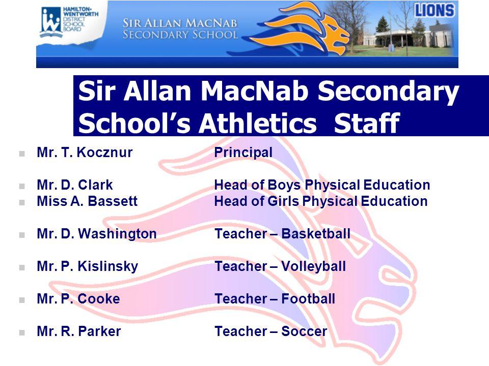 Sir Allan MacNab Secondary School's Athletics Staff