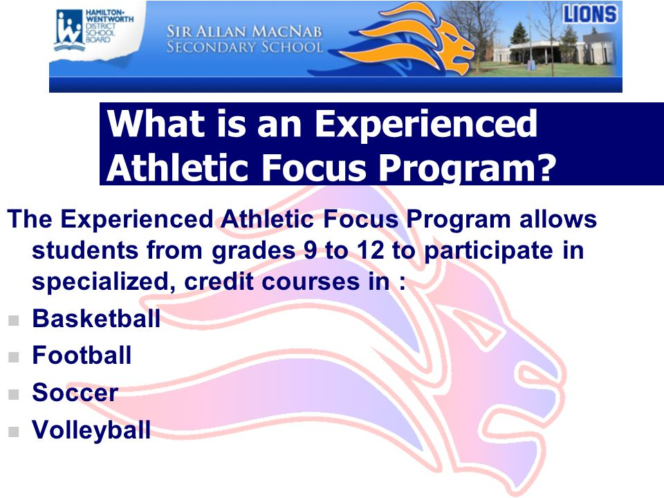 What is an Experienced Athletic Focus Program