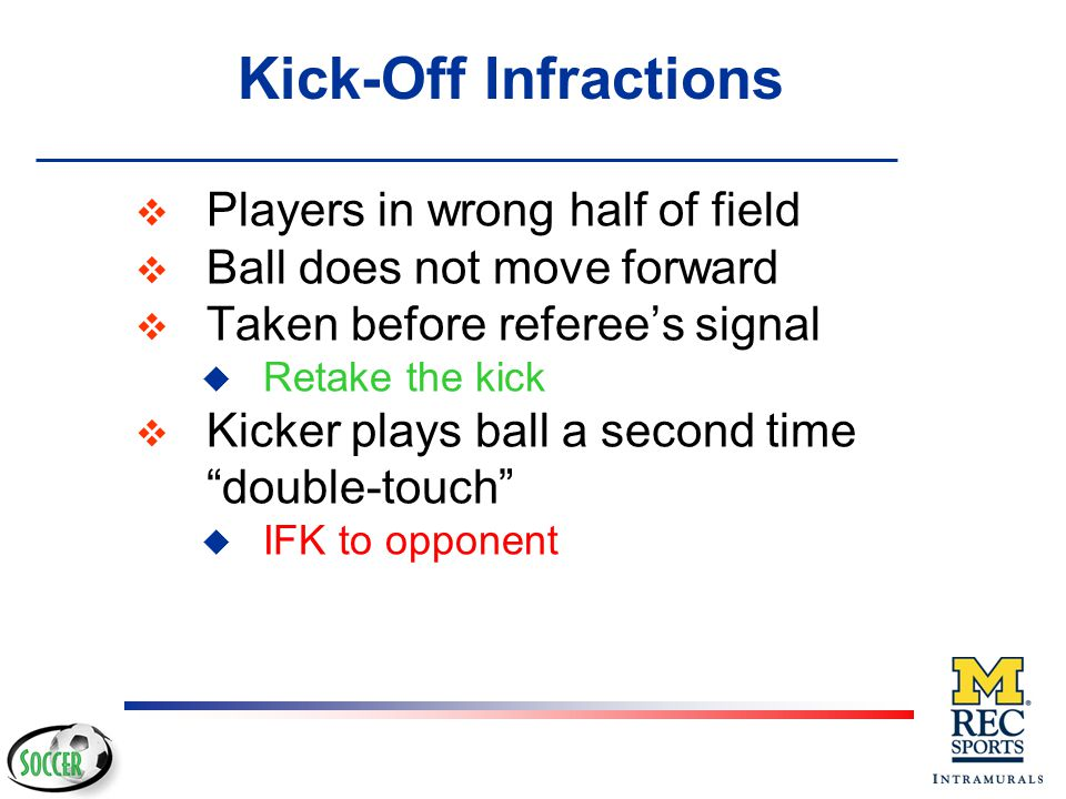 Kick-Off Infractions Players in wrong half of field