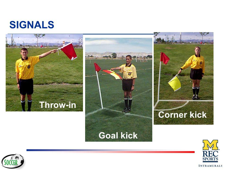 SIGNALS Corner kick Throw-in Goal kick