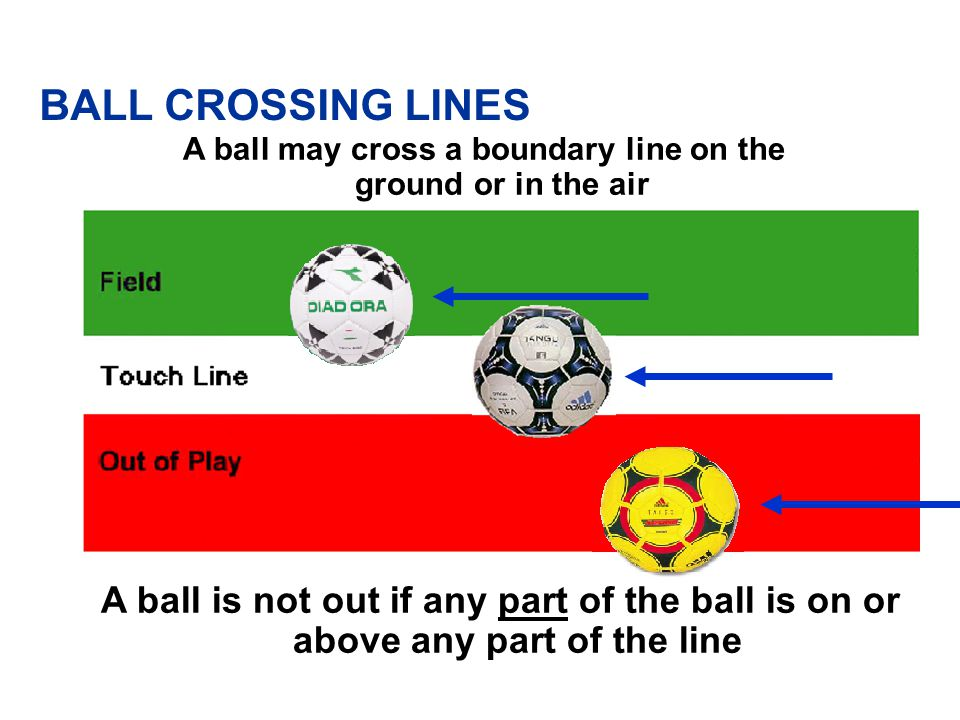 A ball may cross a boundary line on the ground or in the air