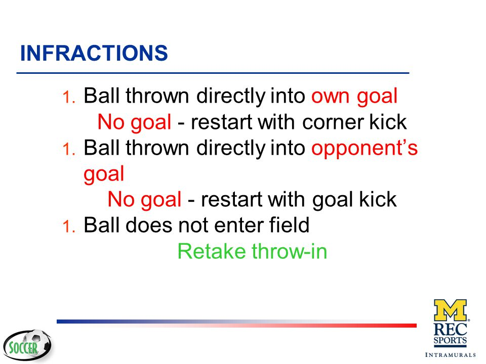 Ball thrown directly into own goal No goal - restart with corner kick
