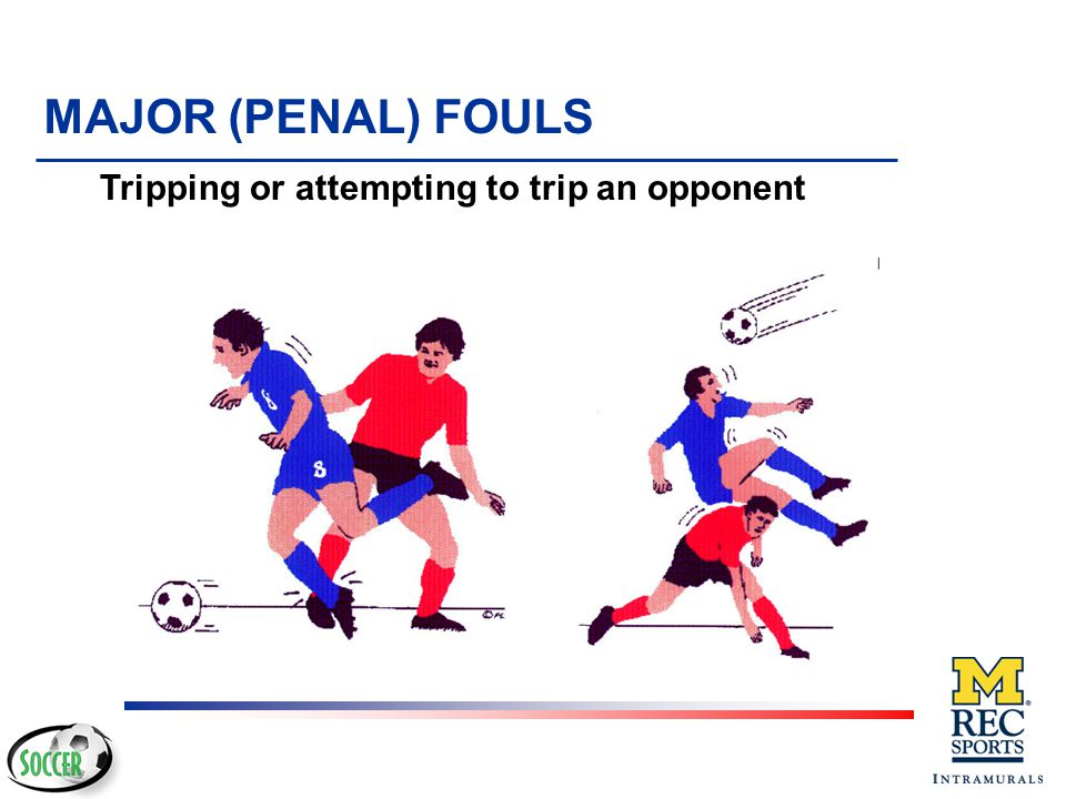 MAJOR (PENAL) FOULS Tripping or attempting to trip an opponent