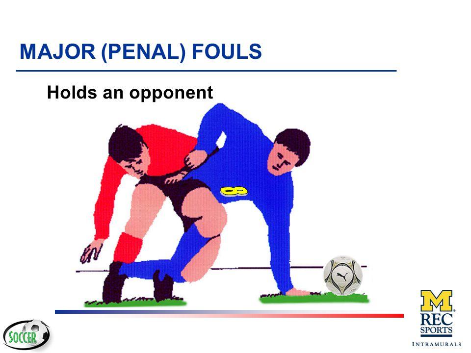 MAJOR (PENAL) FOULS Holds an opponent 8