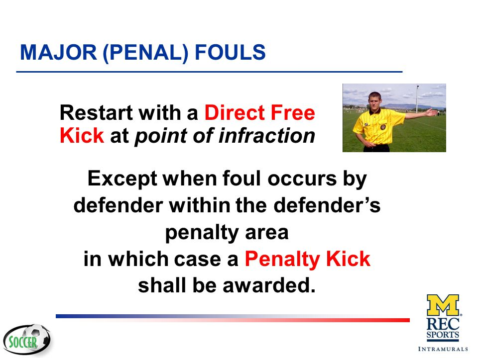 Restart with a Direct Free Kick at point of infraction