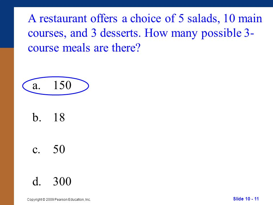 A restaurant offers a choice of 5 salads, 10 main courses, and 3 desserts. How many possible 3-course meals are there