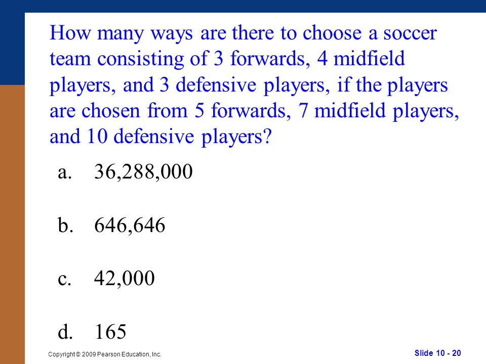 How many ways are there to choose a soccer team consisting of 3 forwards, 4 midfield players, and 3 defensive players, if the players are chosen from 5 forwards, 7 midfield players, and 10 defensive players