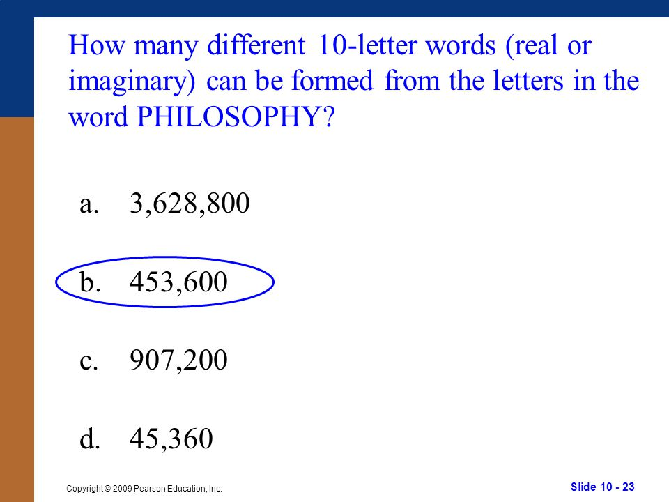 How many different 10-letter words (real or imaginary) can be formed from the letters in the word PHILOSOPHY
