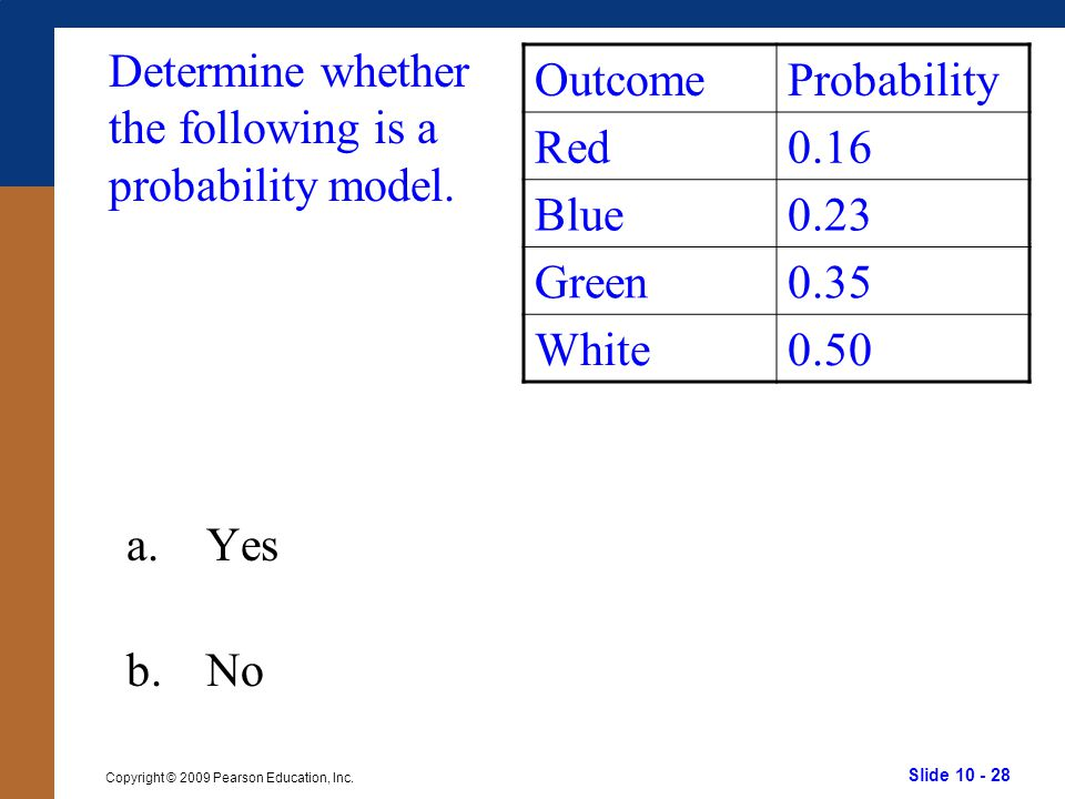 Determine whether the following is a probability model.