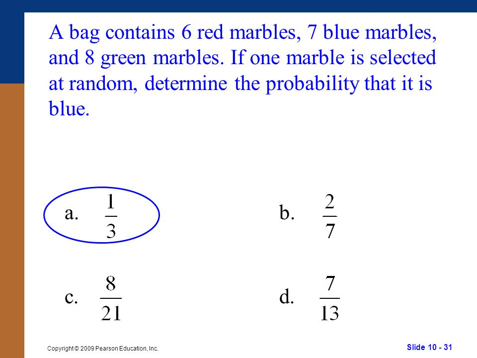 A bag contains 6 red marbles, 7 blue marbles, and 8 green marbles