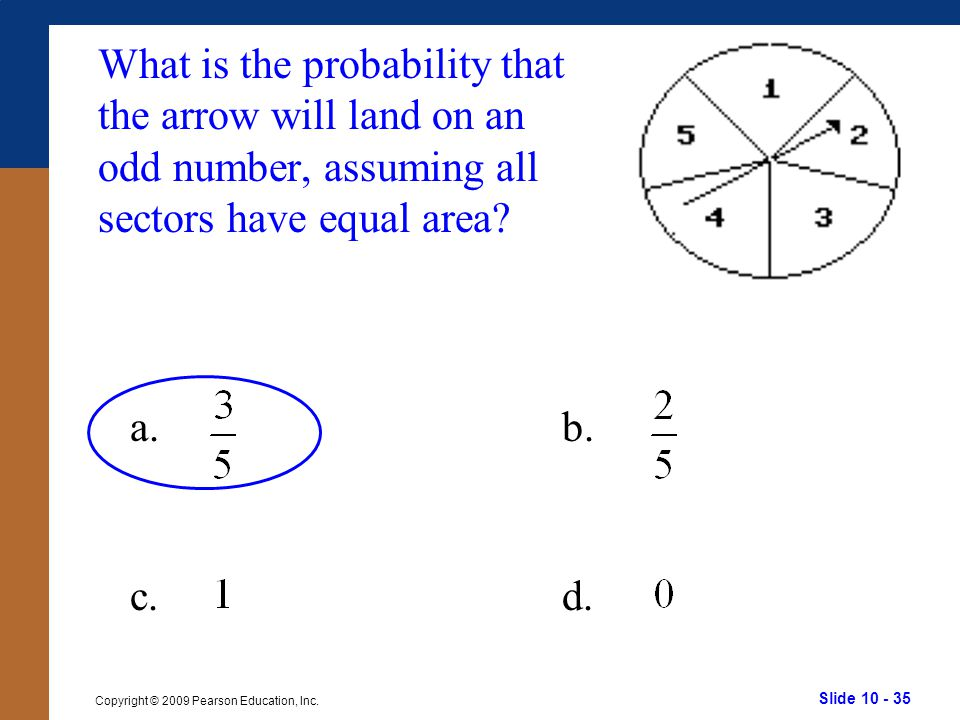 What is the probability that the arrow will land on an odd number, assuming all sectors have equal area