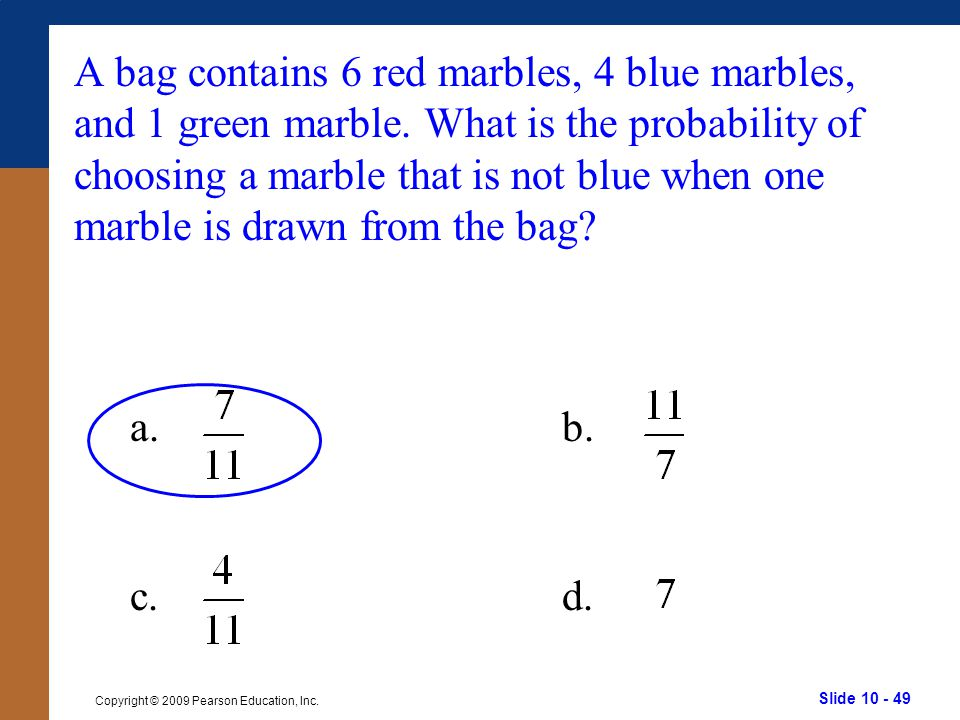 A bag contains 6 red marbles, 4 blue marbles, and 1 green marble