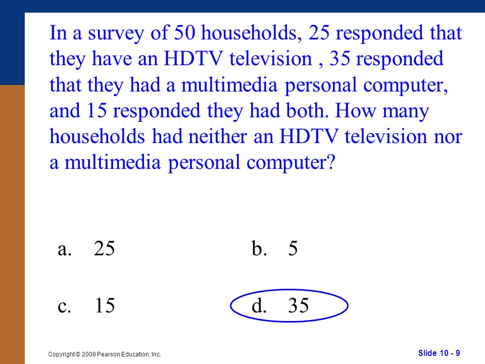 In a survey of 50 households, 25 responded that they have an HDTV television , 35 responded that they had a multimedia personal computer, and 15 responded they had both. How many households had neither an HDTV television nor a multimedia personal computer