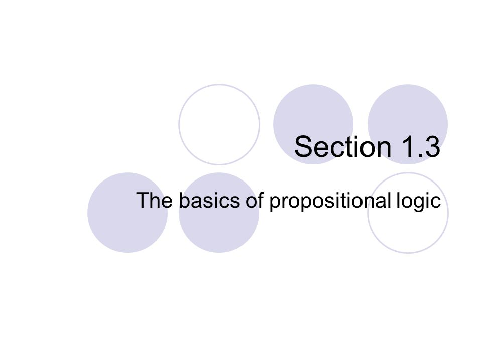 The basics of propositional logic