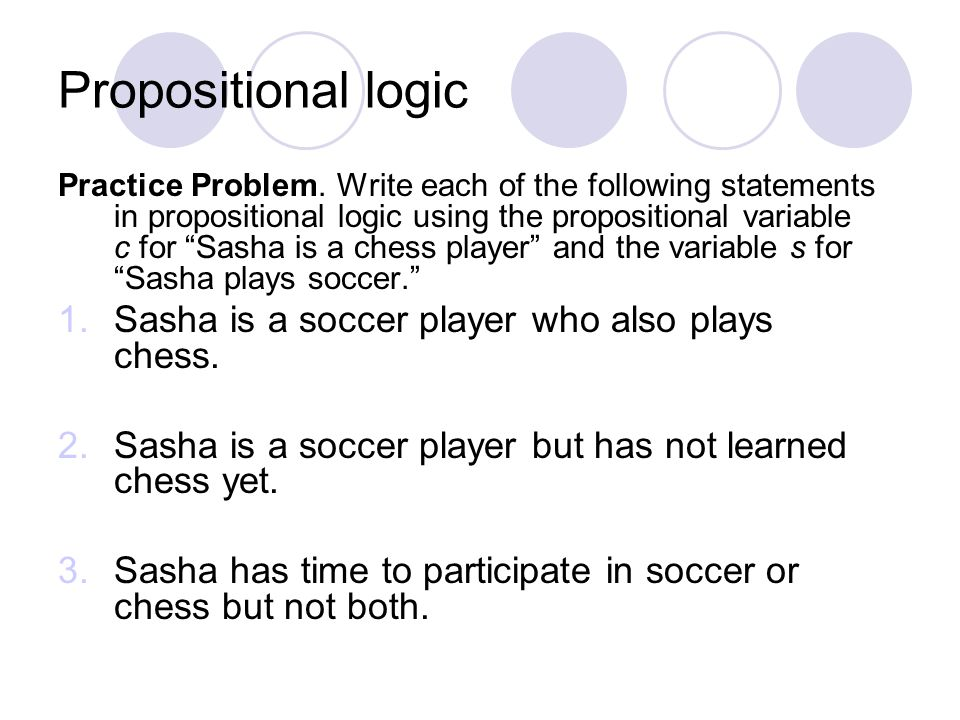 Propositional logic Sasha is a soccer player who also plays chess.