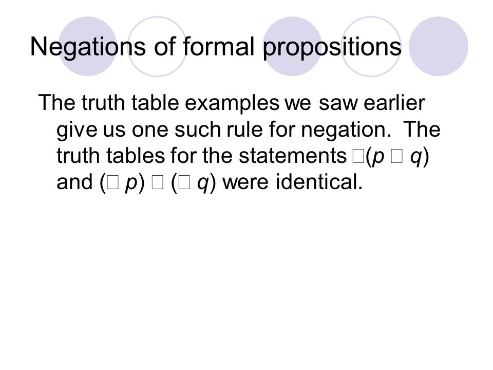 Negations of formal propositions