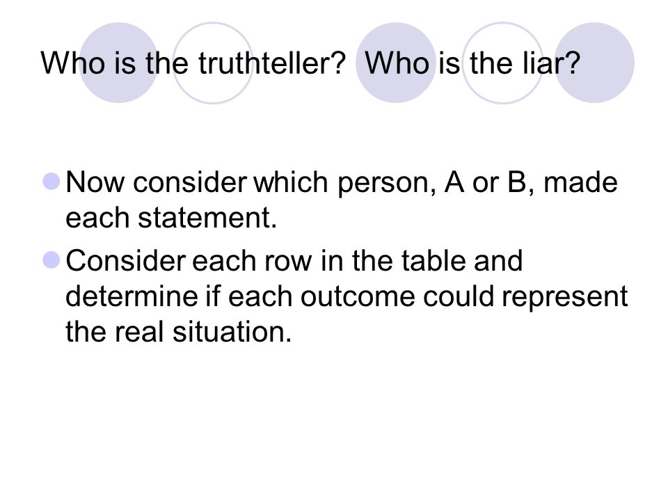 Who is the truthteller Who is the liar