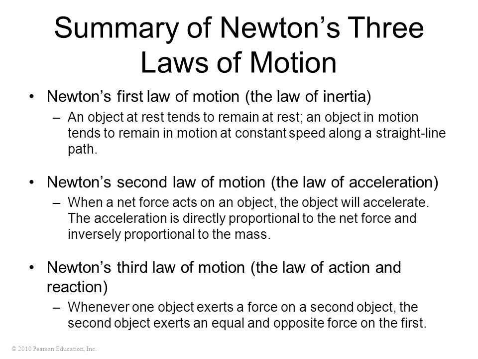 Summary of Newton's Three Laws of Motion
