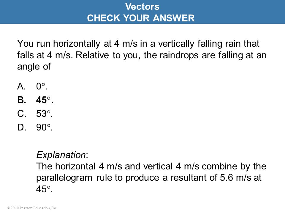 Vectors CHECK YOUR ANSWER