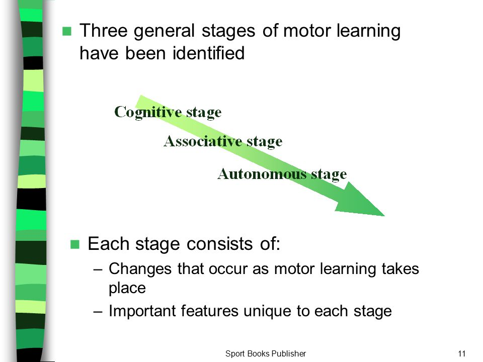 Three general stages of motor learning have been identified