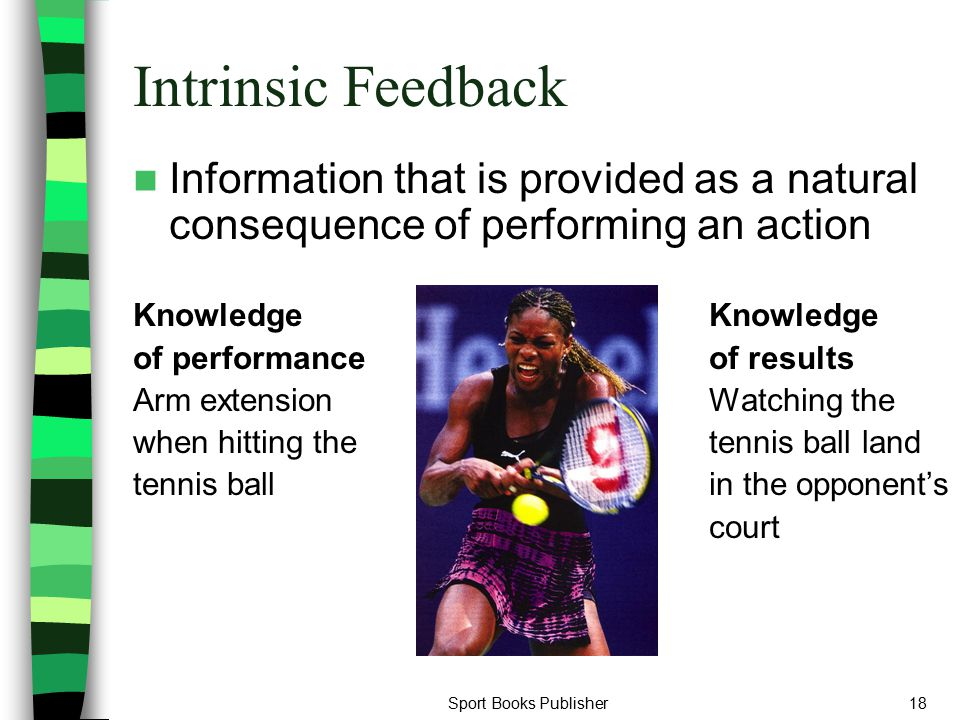 Intrinsic Feedback Information that is provided as a natural consequence of performing an action. Knowledge Knowledge.