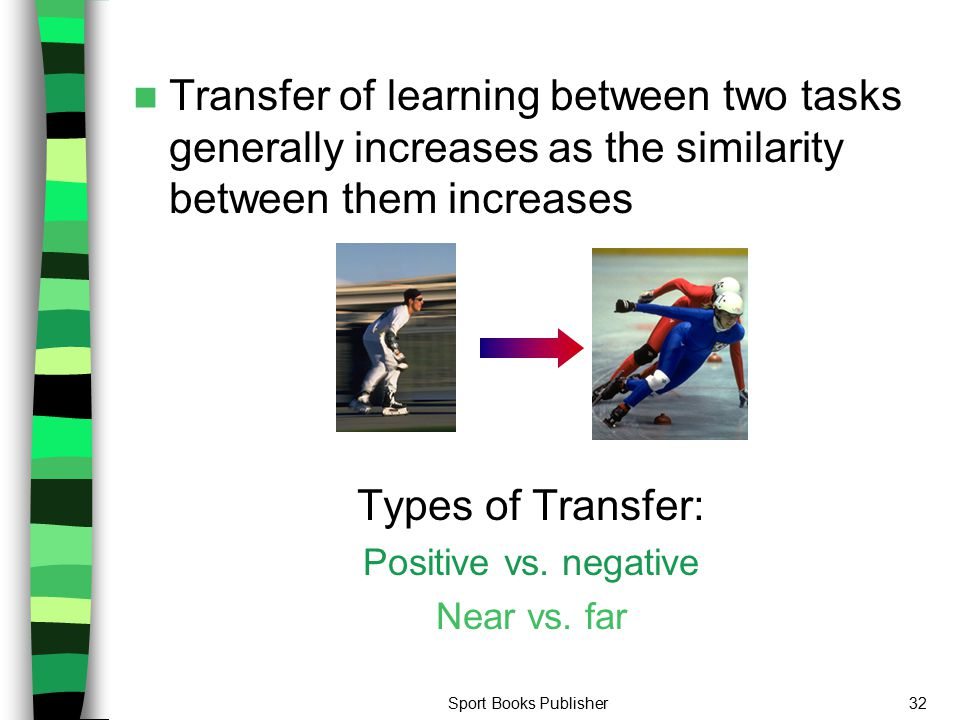 Transfer of learning between two tasks generally increases as the similarity between them increases