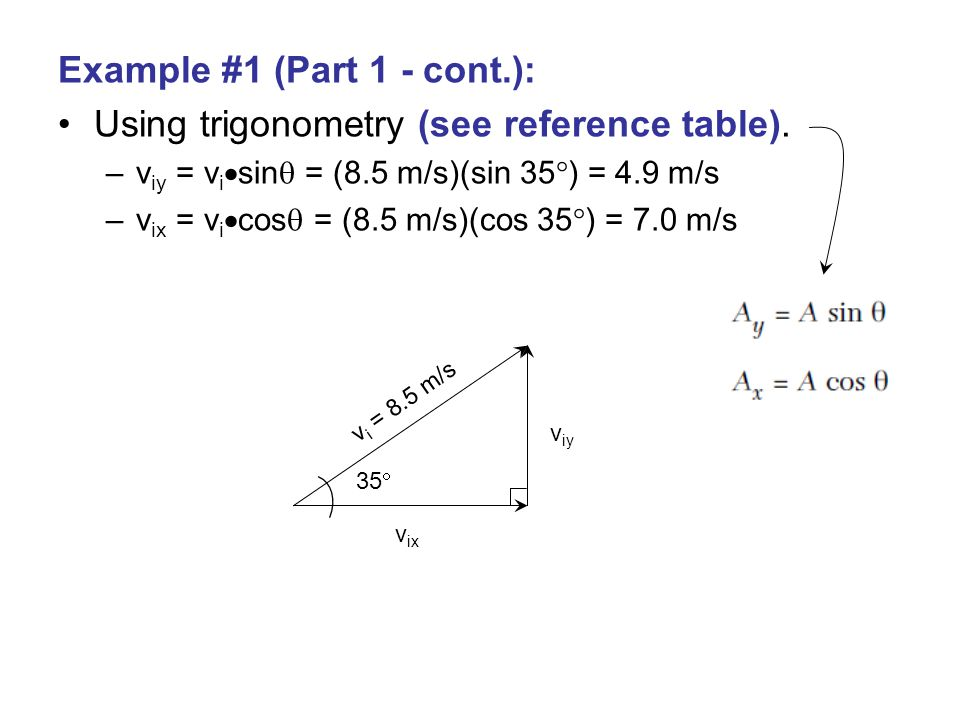 Example #1 (Part 1 - cont.): Using trigonometry (see reference table).