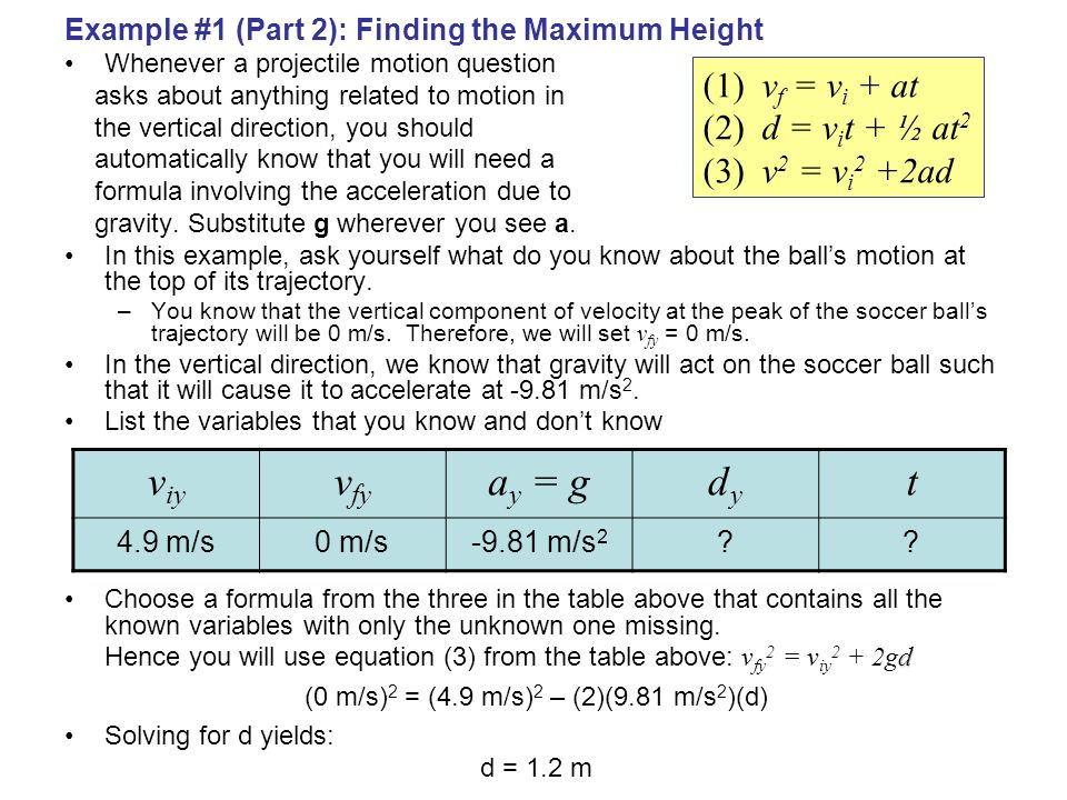 (0 m/s)2 = (4.9 m/s)2 – (2)(9.81 m/s2)(d)