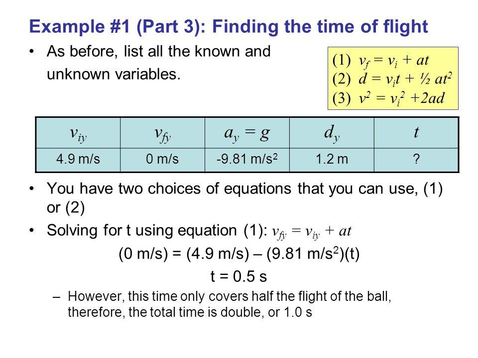 (0 m/s) = (4.9 m/s) – (9.81 m/s2)(t)