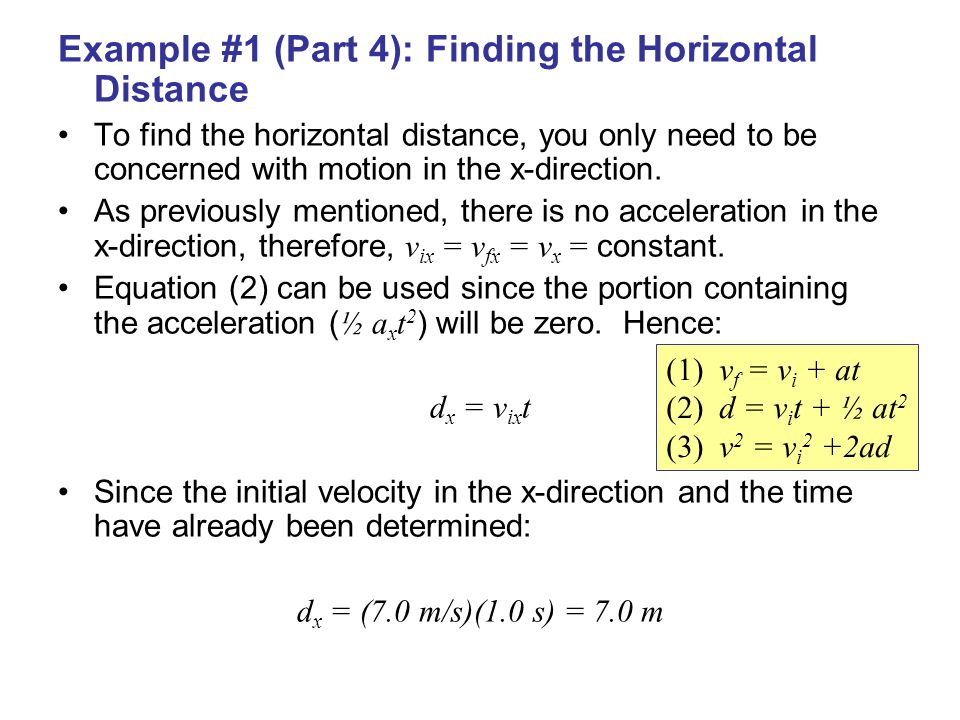 Example #1 (Part 4): Finding the Horizontal Distance