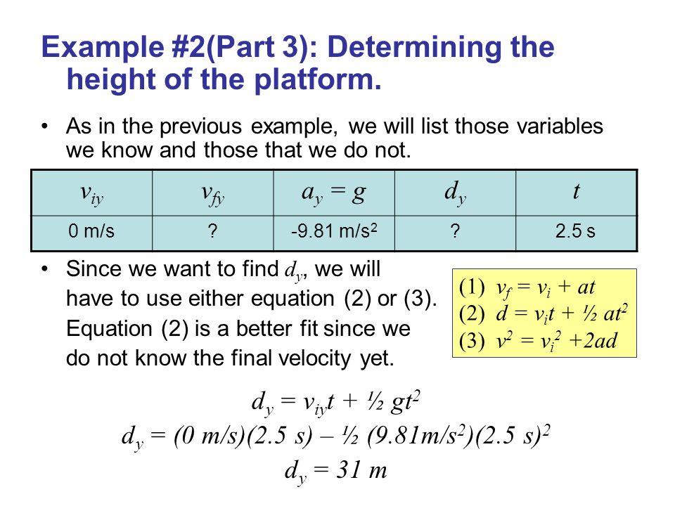 dy = (0 m/s)(2.5 s) – ½ (9.81m/s2)(2.5 s)2