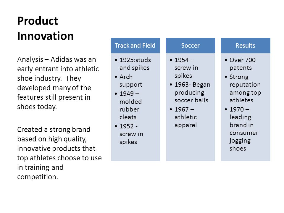 Product Innovation Track and Field. 1925:studs and spikes. Arch support. 1949 – molded rubber cleats.