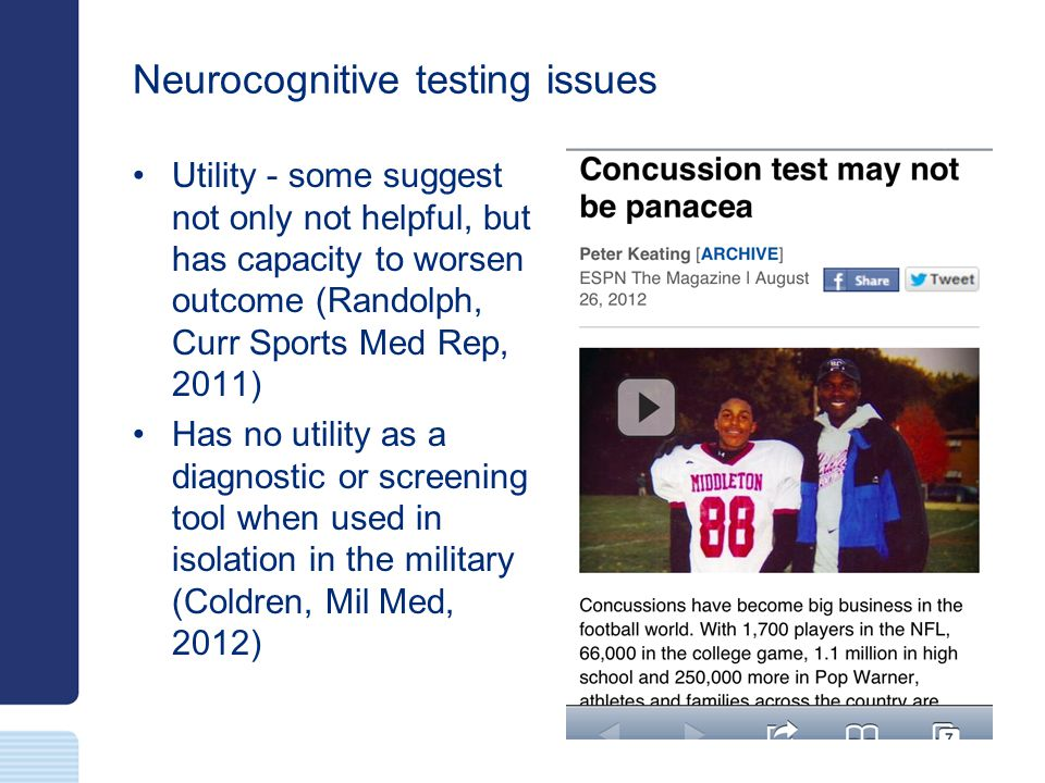 Neurocognitive testing issues