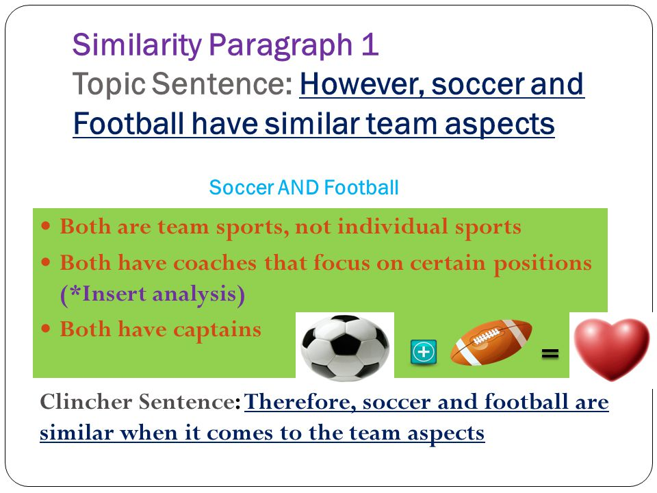 Similarity Paragraph 1 Topic Sentence: However, soccer and Football have similar team aspects