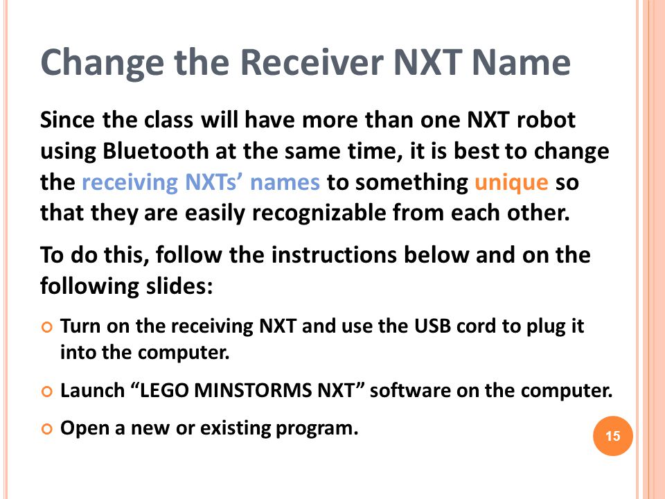 Change the Receiver NXT Name