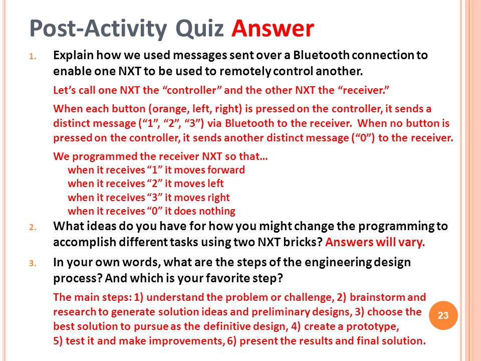 Post-Activity Quiz Answer