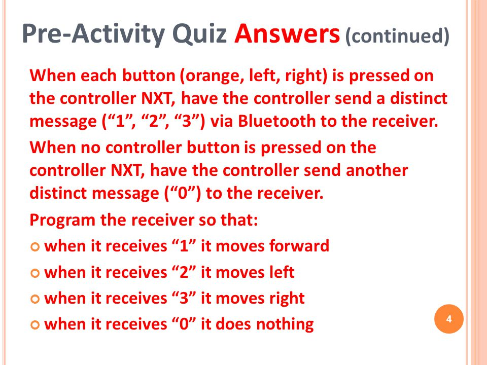 Pre-Activity Quiz Answers (continued)