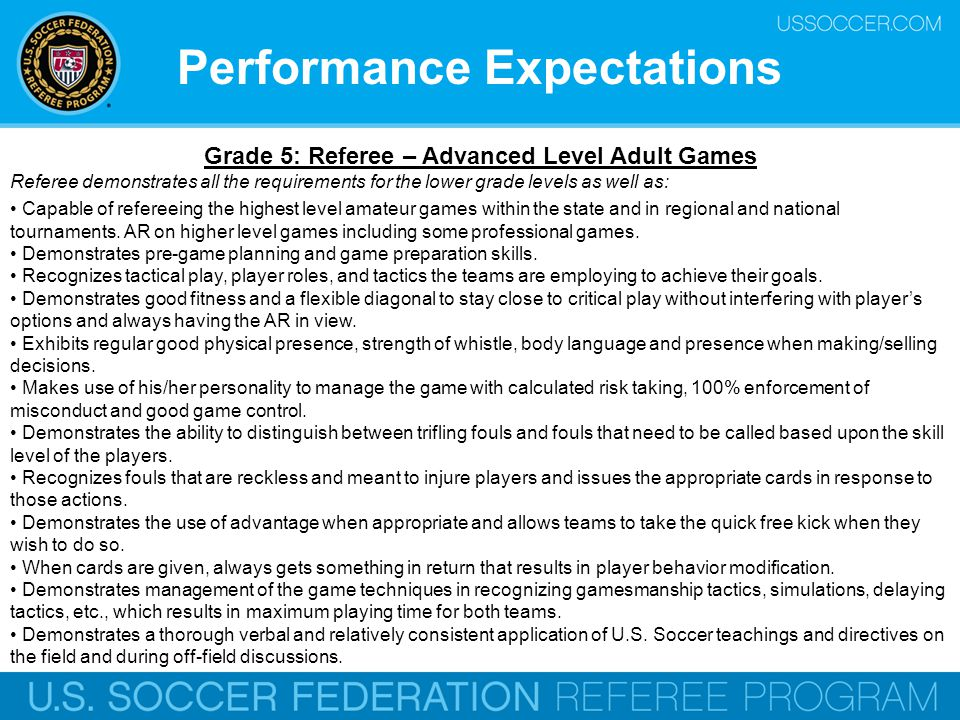 Performance Expectations Grade 5: Referee – Advanced Level Adult Games