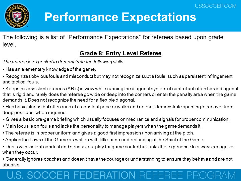 Performance Expectations Grade 8: Entry Level Referee