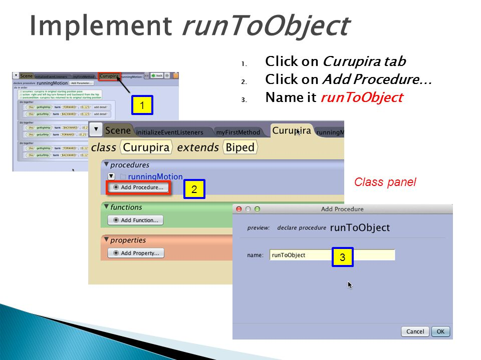 Implement runToObject