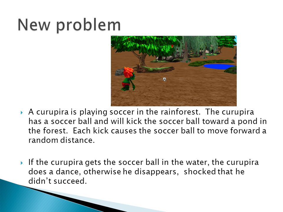 A curupira is playing soccer in the rainforest
