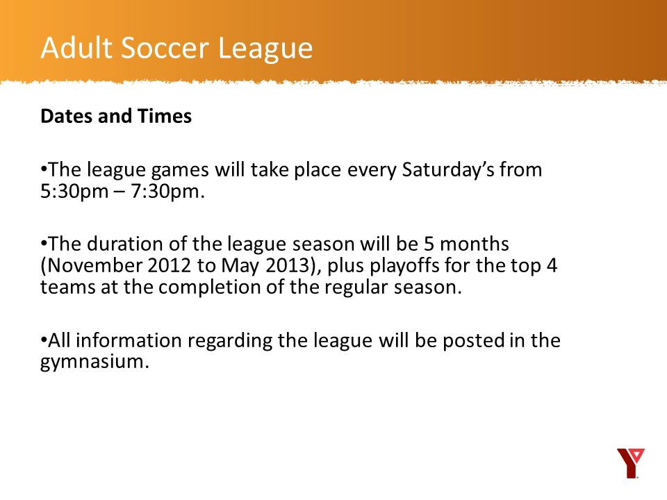 Adult Soccer League Dates and Times
