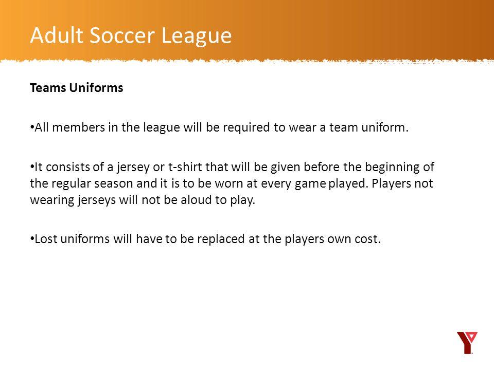Adult Soccer League Teams Uniforms