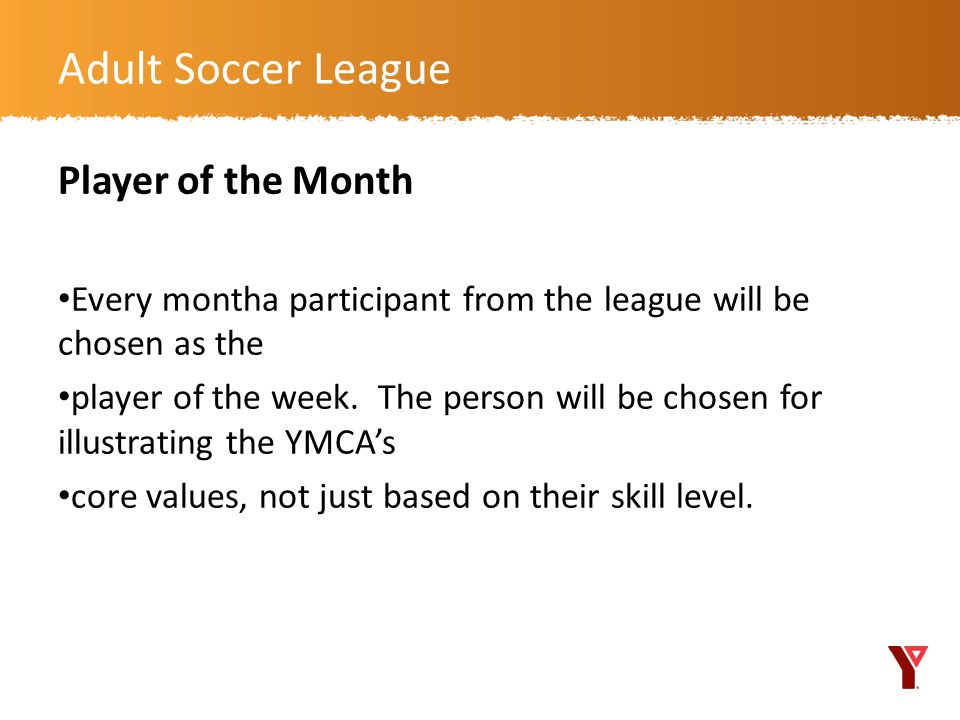 Adult Soccer League Player of the Month
