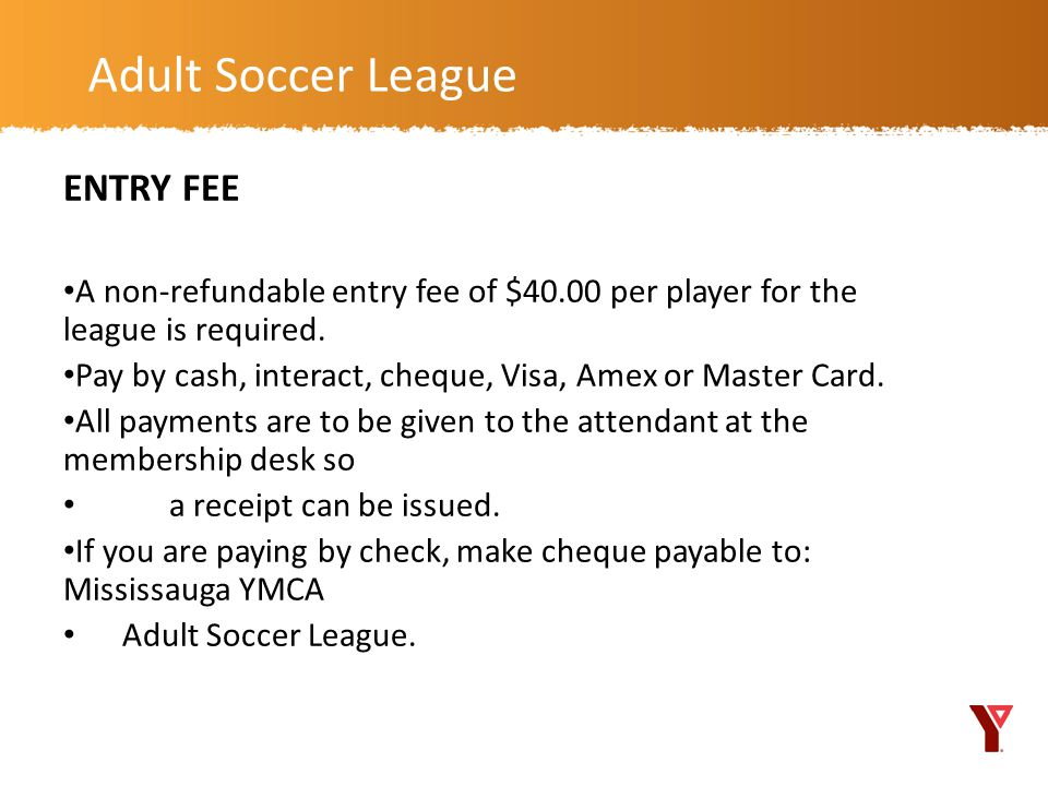Adult Soccer League ENTRY FEE