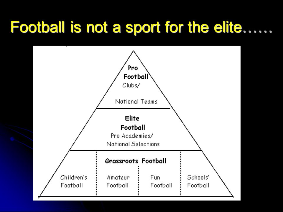 Football is not a sport for the elite……