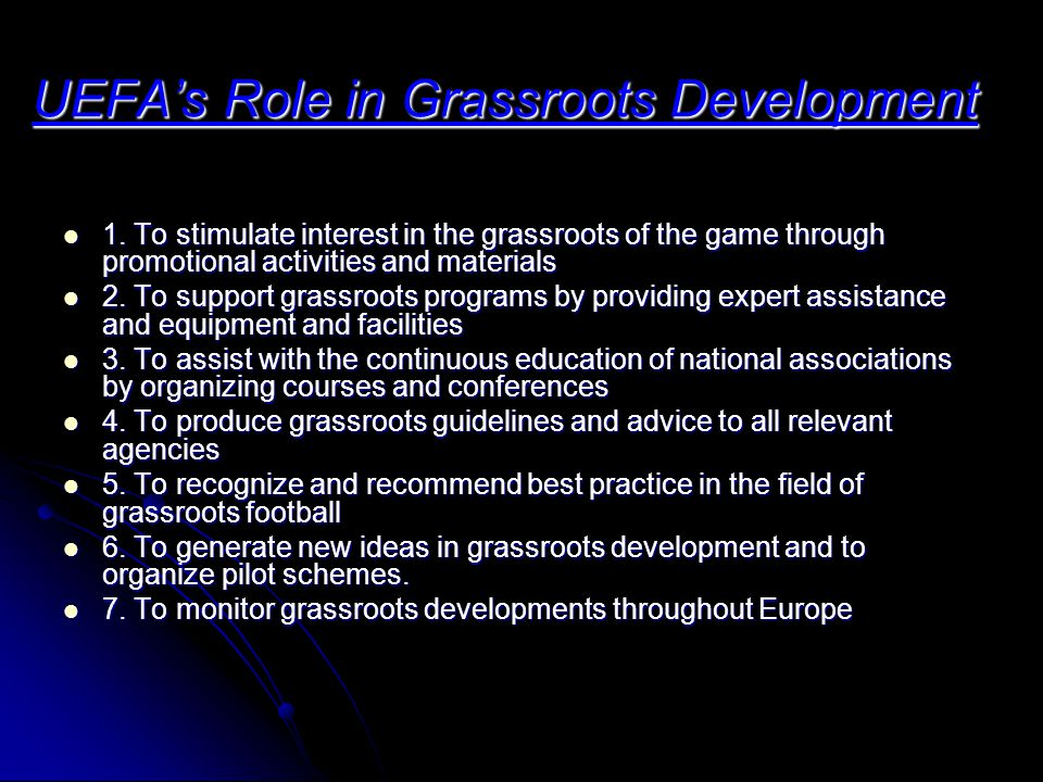 UEFA's Role in Grassroots Development